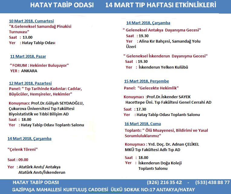 14 Mart Tıp Haftası Programı