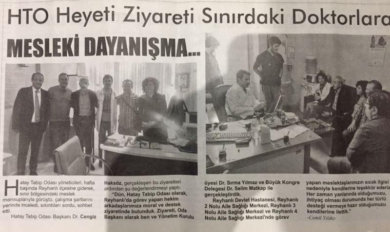 Hatay Tabip Odası Yönetimi Reyhanlı ilçesinde Hekimleri ziyaret etti