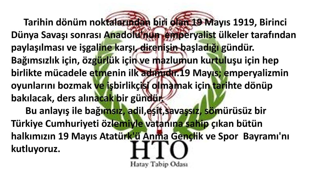 19 Mayıs Atatürk'ü Anma, Gençlik ve Spor Bayramını kutlarız.